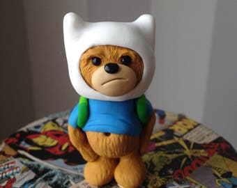 Finn the Human Comic Con Bear - Polymer clay bear figure dressed in style of Finn the Human from Adventure Time