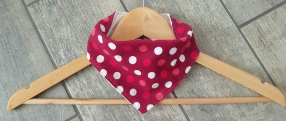 Handmade bandana drool bib - LIMITED EDITION - polka dot print cotton flannel with white cotton flannel - baby accessories