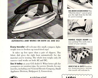 1953 General Electric vintage magazine ad for a Travel Iron wall decor