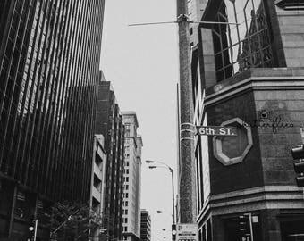 Black and white city scape