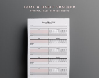 Monthly Goal Tracker - Habit, 30 days, Monitor, Fitness tracker, Fitness plan, Checklist, Minimal, Printable, Planner - Instant Download