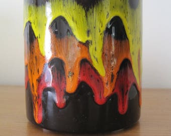 "Drip Glaze Vase, Signed: Tadpole 1981, Diameter 4"", Height 4.5"", Black with Yellow/Orange/Red Drip Glaze, Vintage"