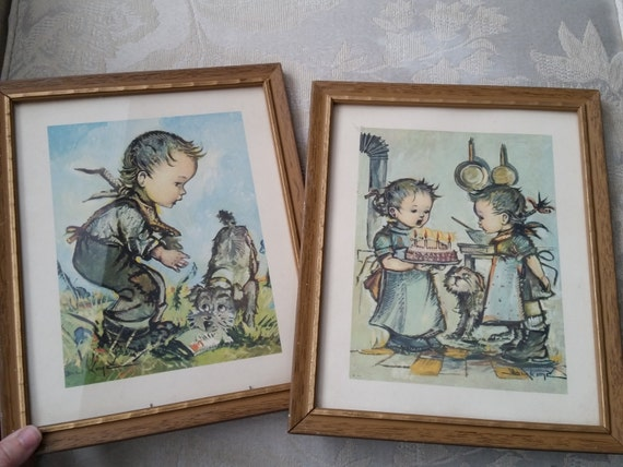Pair of Bukač / Donald Art Co. 1960's Framed Lithographs | Vintage Kitschy Artwork | Hummel Style Boy & Girl | Children with Dog