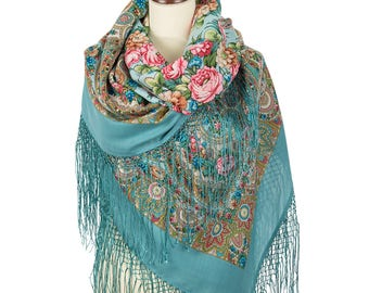 "Russian Shawl Pavlovo Posad 58"" Wool Folk Scarf 100% Silk fringes 148cm Light Blue Pink Green Flowers"