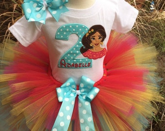 Elena of Avalor Birthday Tutu Outfit Dress Set Handmade 1st 2nd 3rd in Red Aqua Yellow and Hot Pink