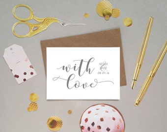 Wedding thank you cards, with love from bride and groom, new Mr and Mrs, hand lettered modern calligraphy font, customised, personalised, UK
