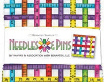 "SALE Needles and Pins by Benartex - (42) 5"" x 5"" Charm Pack"