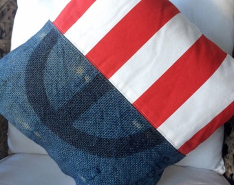 Cushion Cover Hemp Linen, Up-cycled Coffee Bean Bag Red White and Blue