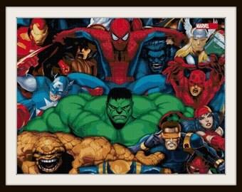 Marvel Superheroes Cross Stitch - Marvel - Heroes, Superheroes - Spiderman, Hulk, Ironman, Daredevil - PDF Download
