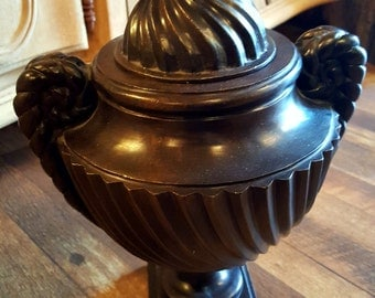 Metal Urn with Lid and Scroll Work