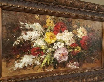 Floral Still Life Oil On Canvas in dark Gold Frame