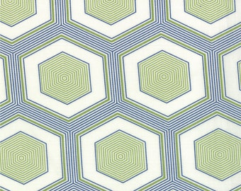 SALE - Moda Fabric  - Simply Style - V and Co - 10810 19 -  Green/Navy - Cotton fabric by the yard