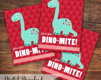CUSTOM Name Dinosaur Valentine Cards (You are Dino-Mite!) Printable
