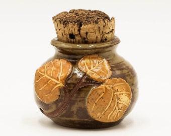 Aspen Leaf Stash Jar | Stash Jar | Herb Jar | Cork Jar | Pottery | Ceramic | Stoneware | Pottery Cork Jar | Ceramic Cork Jar