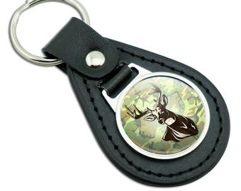 Deer Hunting Green Camouflage Black Leather Metal Keychain Key Ring