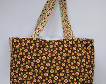 Autumn shoulder bag - baby change bag - reversible shoulder bag - shades of autumn bag - floral bag - 60s style flowers - ditsy flowers