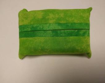 Green pocket tissue holder - pocket tissue pouch - travel tissue holder - travel tissue pouch - spring green dark on light