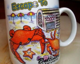 Escape To Baltimore Mug! Baltimore Maryland, Crab Trap, Starfish, Breach Umbrellas, Sand and Surf, agiftcorp Mug, Maryland Mug, Seashore
