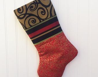Christmas Stocking, Handmade Christmas Stocking, Red and Gold Christmas Stocking