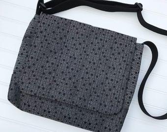 School bag, Black Messenger Bag, Cross Body Bag, Handmade Bag, Laptop Bag, Tablet Bag, Book Bag