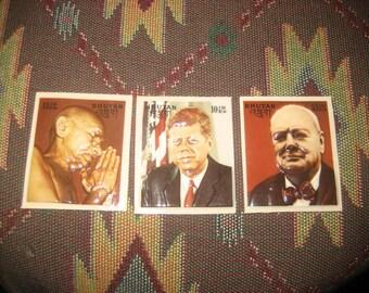 Three 3-D Bhutan Postage Stamps/Gandhi, Kennedy & Churchill Stamps