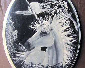 Unicorn in the Moonlight, Black & White Oil Painting on Pine Plaque