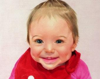 "9X12"", 10X15"",custom,hand-drawn,realistic,colored-pencil portraits of babies/infants/toddlers/childern/single portrait/double portraits"