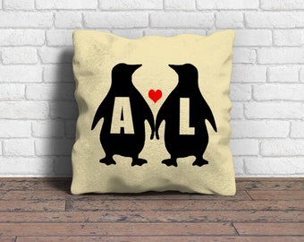 Couple cushion, Penguin cushion, Couple gift, Engagement gift, Wedding gift, Personalised cushion, , Personalised pillow, Valentines gift