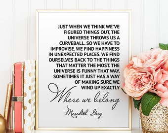 Greys Anatomy Print Meredith Grey Printable Quotes Instant Download Wall Art Decor Grey's Anatomy Poster Motivational Gift for Friends