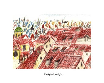 Printing. The roofs of Prague. Prague roofs. Print from painting in crayons.