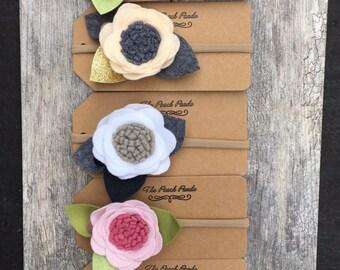 Handmade felt single flower headband / clip - baby - infant - children - special occasions