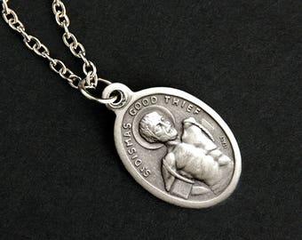 Saint Dismas Necklace. Good Thief Catholic Saint Necklace. St Dismas Medal Necklace. Patron Saint Necklace. Religious Necklace.