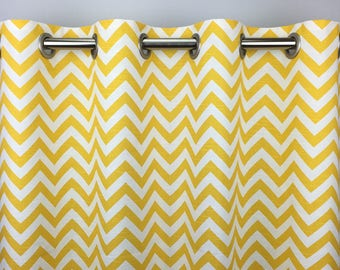 Yellow Chevron Curtains  - FREE SHIPPING - Yellow Drapes - Rod Pocket - Grommets - Lined/Unlined - Valance- 24 50 x 84 96 108 120 Panels
