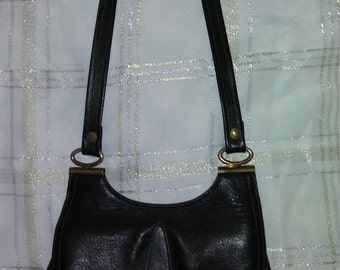 Vintage Black Leather Shoulder Bag 1970's-1980's