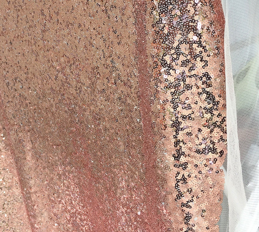 Rose Gold Sequin Fabric Glitters Sequins Fabric For Dress