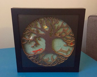 Woodland Creature Layered Paper Shadow Box