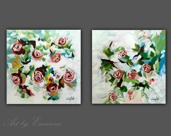 """SALE, Original Painting, Flower Painting, Contemporary Art, Set of 2 Modern Wall Art,  20""""x40"""" Ready to Hang"""