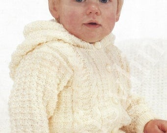 PDF Instant Digital Download baby girl boy jacket with hood knitting pattern 19 to 21 inch (142)