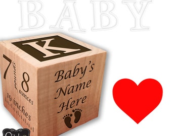 Personalized Wood Name Baby Stacker - Birth Announcement Wood Stack block set for baby girl or boy nursey - Great Baby gift