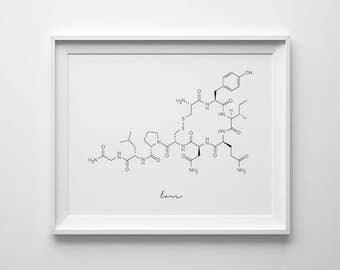 Oxytocin Molecule, Love Molecule, Oxytocin Print, Molecule Printable, Cuddle Molecule, Oxytocin Wall Art, Science Art