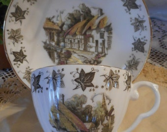 Vintage Royal Ardalt bone china tea cup and saucer Ivy and English home scene farmhouse decor vintage kitchen shabby chic cottage chic