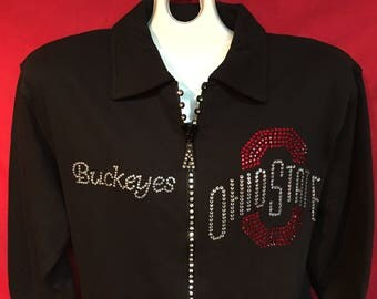Ohio State Crystal Zipper Jacket Football Normal OSU Logo Misses S M L XL and Plus sizes 1X 2X 3X