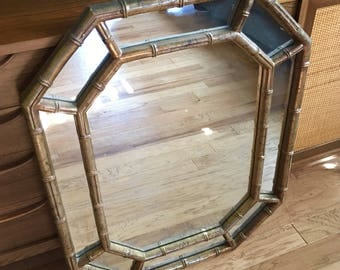 "Vintage Faux Bamboo Gold Gilt Hollywood Regency Chinoiserie Octagonal Mirror 32"" x 25"""