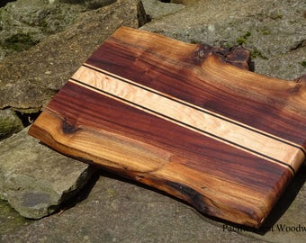 Natural Edge, Black Walnut, Large Cutting Board, Curly Maple Ebony accent, Bar, Fathers Day, BBQ, Outdoor Cooking , wood tray, Craft Beer