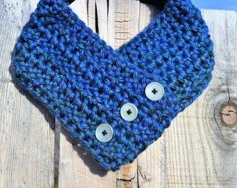 Blue and Green Button Cowl