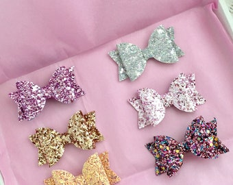 Purple glitter bow, grey glittwr bow, rose gold glitter bow, orange glitter bow, pink glitter bow, baby/girls hair bow, fringe clip