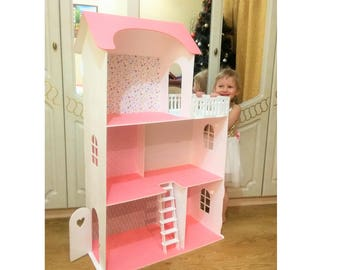 Big Barbie Dollhouse with furniture, Wooden dollhouse, Barbie Dollhouses, Dollhouse kit, Big Barbie Doll House, dollhouse, doll house