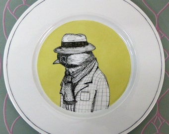 Hand painted porcelain collection plate  - Tit