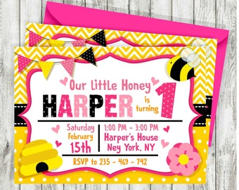 Pink Bumble Bee Birthday Invitations, Bee invitations, Bumble Bee Invite, Little Honey Birthday Invitation, Bee Party Theme, Printable
