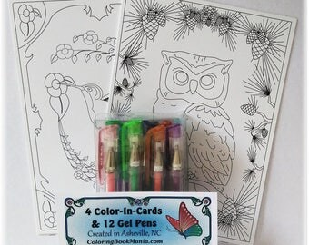 "GIFT SET  of 4 NOTECARDS to Color: Includes Gel Pens & 5"" x 7"" cards with envelopes - 2 each of 2 designs - Owl x2 and Hummingbird x2"